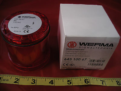 Werma 643 100 67 Red Flashing Light Element 64310067 Signal Tower 115v Nib New