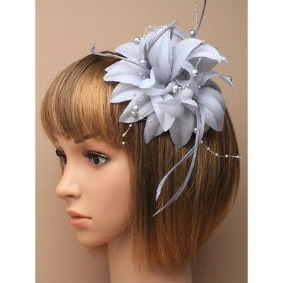 Silver Grey Flower Feather & Bead Fascinator Hair clip Brooch Pin Weddings party