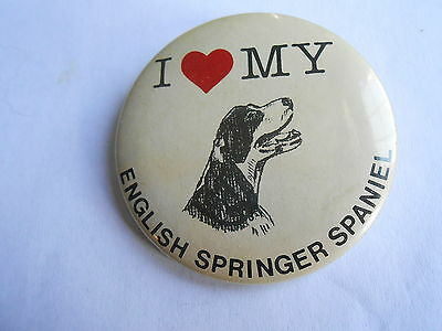 Cool Vintage I Love My English Springer Spaniel Dog Pinback