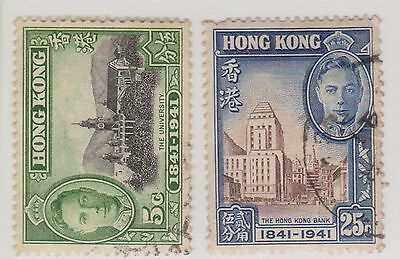 (Q15-125) 1941 Hong Kong mix of 2 centenary of GB occupation MH