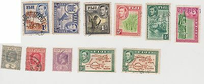 (Q15-192) 1903-40 Fiji mix of 11stamps 1d to 1/- used