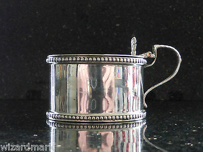 Antique Sterling Silver Mustard Pot Blue Glass Liner William Hutton & Sons 1912
