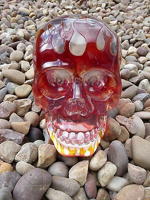 CLEAR Skull with Red Flames by Nemesis Now