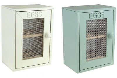 Vintage Rustic Cream or Mint Green Wooden Egg Storage Holder Cabinet Cupboard