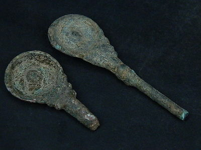 Ancient Bronze 2 Spoons Bactrian 300 BC   #SSS