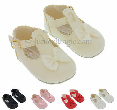 BABY GIRL SHOES | Soft Sole First PRAM SHOES | Black Cream Pink Red White | B861