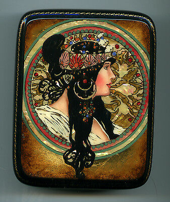 "Russian Lacquer box  Fedoskino ""Brunette"" Hand Painted"