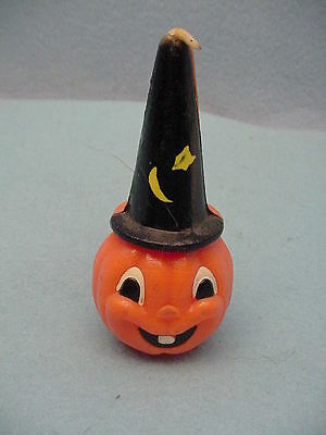 Vintage Gurley Halloween  Jack-O-Lantern With Tall Black Hat Candle