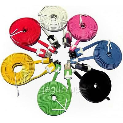 Extra Long 3 Meter Micro Usb Colour Color Noodle Cable For Samsung S3 S4 S5 Htc