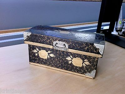 Old Japanese Black Lacquer Lidded Chest style Box 5 inches