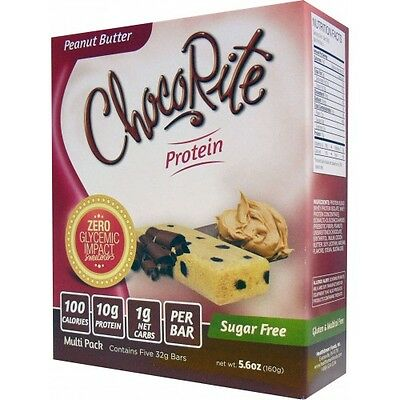 ChocoRite Protein Bars Peanut Butter - 5 Bars, Low Carb, High Fiber, Sugar Free