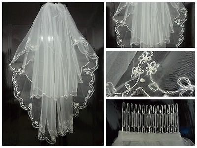 Beautiful New White/Ivory 2T Beaded Edge Bridal wedding veil with comb