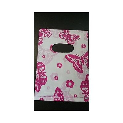 100 Mini Small Pink butterfly Print Carrier Bags 18x13cm plastic bags Wholesale