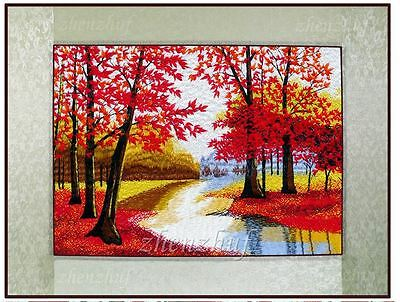 "New Needlepoint finished completed embroidery""RED MAPLE""wall decor gift sale"