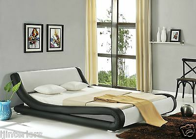 Amari Modern Designer Double Or King Size Leather Bed With Memory Foam Mattress