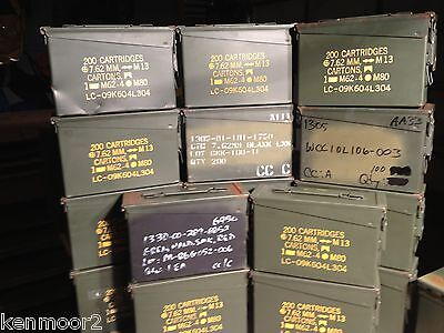 Lot of (15) 30 Caliber 200 Cartridge 7.62MM Ammo Can Box Used 30 cal Empty cans