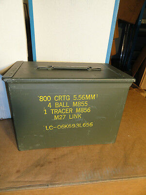 two(2) Fat 50 (SAW) Ammo Can Box Used Empty - Very good condition US military