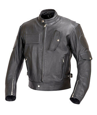 Men Motorcycle Biker Race Leather Jacket 5pc CE Rated Armor Black MBJ025