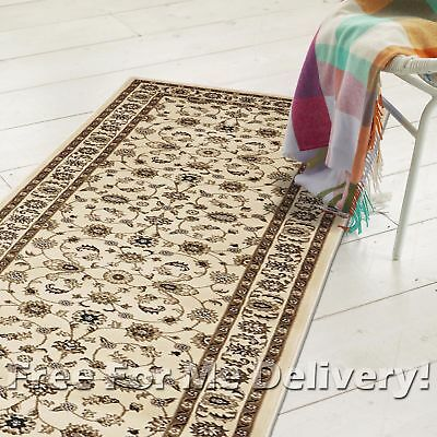 ROSA TRADITIONAL CREAM IVORY CLASSIC FLOOR RUG RUNNER 80x400cm **FREE DELIVERY**