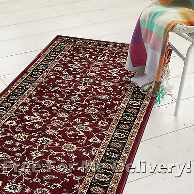 ROSA TRADITIONAL RED BLACK CLASSIC FLOOR RUG RUNNER 80x400cm **FREE DELIVERY**
