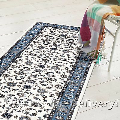 ROSA TRADITIONAL WHITE BLUE CLASSIC FLOOR RUG RUNNER 80x400cm **FREE DELIVERY**