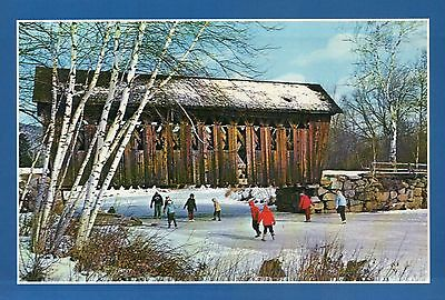 Ice Skating on Frozen River Covered Bridge New York Old Fashion Winter, Postcard