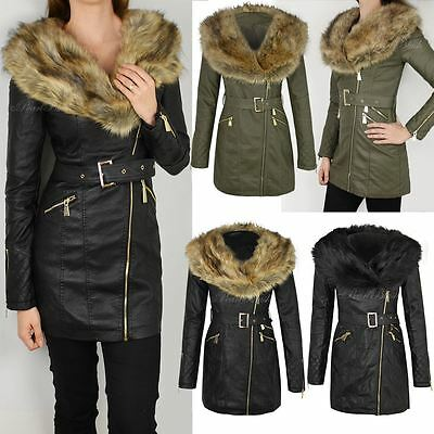 Womens Ladies Faux Leather Fur Collar Long Biker Jacket Parka Coat Belted Size