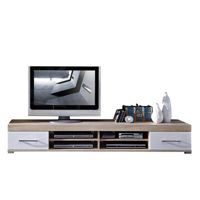 lowboard hochglanz wei sonoma eiche fernsehschrank tv hifi rack fernsehtisch eur 215 10. Black Bedroom Furniture Sets. Home Design Ideas