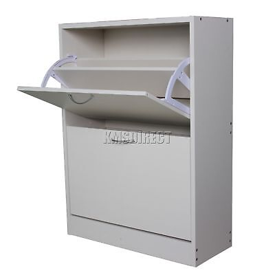 FoxHunter Wooden Shoe Storage Cabinet 2 Drawer Footwear Stand Rack Unit White