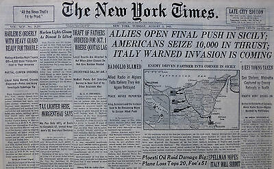8-1943 Wwii August 3 Harlem Rioting Mussolini Gone Allie Final Push Sicily Italy