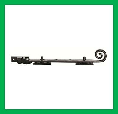 """10"""" Black Antique Cast Iron Curly Tail Casement Stay 250mm With Two Pins (1496)"""