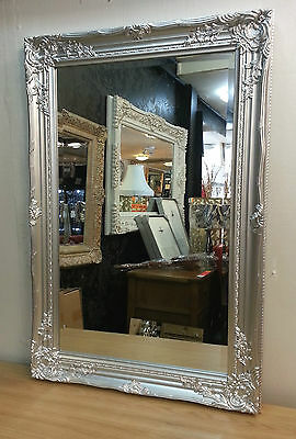 French Style Ornate Vintage Design Bevelled Wall Mirror 60x90cm Silver