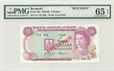 "1975 Bermuda Monetary Authority ""Specimen"" 5 Dollars PMG 65 EPQ Gem UNC P#: 29s"