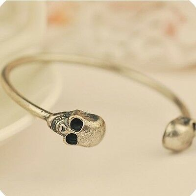Twin Skull Bangle Bracelet.Adjustable Antique Bronze Gothic Two .8 inch.21cm