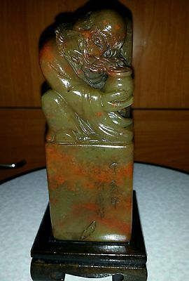 Vintage 100% Natual Big Fujion Shoushan Jade Hand Carved Stamp Seal 5.5x2x2inch""