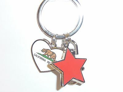 "California Republic Souvenir Keychain W/ Heart And Red Star 4"" By 1.5"" New"
