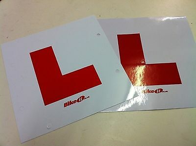 "NEW ""L"" PLATE PACK 1 x SELF-ADHESIVE & 1 x TIE-ON PLATE MOTORCYCLE SCOOTER CAR"