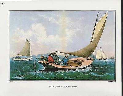 """1972 Vintage Currier /& Ives FISHING /""""BLACK BASS SPEARING/"""" COLOR Print Lithograph"""