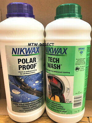 Nikwax Polar Proof & Tech Wash 1 Litre Waterproofing For Hiking Fleeces Jackets
