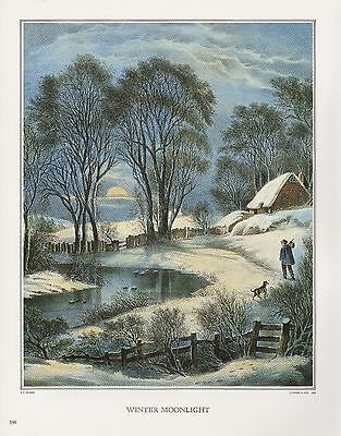 """1972 Vintage Currier & Ives AMERICAN COUNTRY """"WINTER MOONLIGHT"""" COLOR Lithograph"""