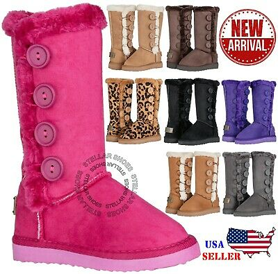 fk84New Girls Kids Four Button Faux Fur Lined Shearing Snow Winter Classic Boots