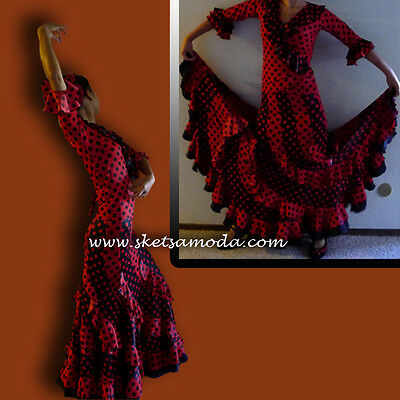 Hand made flamenco dance top /cross over/overlap size small polka dots red black