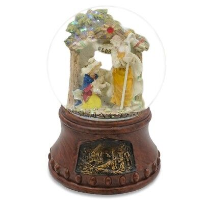 """5"""" Holy Family with Angels Nativity Scene Musical Snow Globe"""