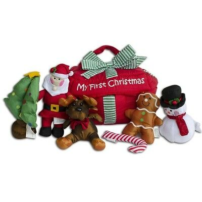 """8"""" (L) Fabric Set of 6 Santa- A Baby's First Christmas Gift Box"""