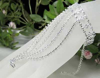 Bridal Clear Austrian Rhinestone Crystal Slave Glove Braclet With Ring Party