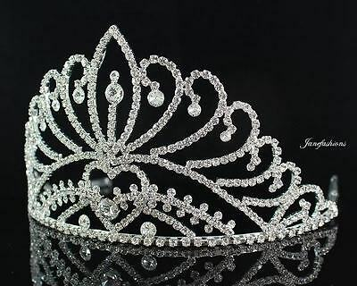Ab89198 Clear Austrian Crystal Rhinestone Crown Tiara With Hair Combs Pageant