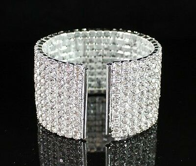 Ten-Row Silver Clear Austrian Rhinestone Crystal Bangle Bracelet Party Jewelry