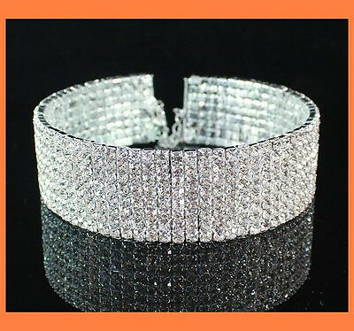 Austrian Clear Rhinestone Crystal Choker Necklace Party Wedding  0077S 8Row