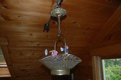 CRYSTAL BASKET CHANDELIER w/ GLASS FLORAL DECORATIONS RESTORED and with/HARDWARE