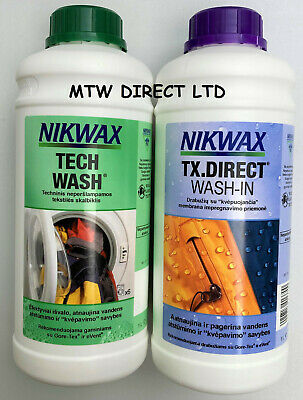Nikwax Tech Wash & Tx Direct 1 Litre Twin Pack Cleaning Waterproofing  Raingear